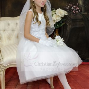 satin and tulle first communion dresses