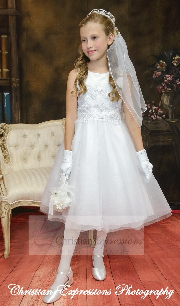 Crosses For Sale >> First Communion Dress with Glittered Skirt | Communion Dresses Under $100