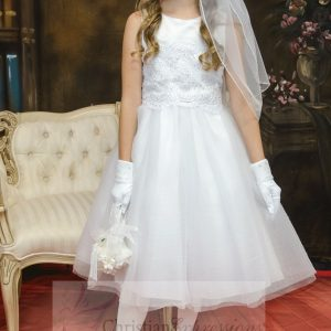 satin and tulle white first communion dress