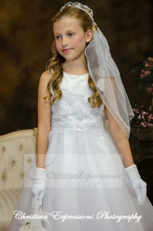 satin and tulle white first communion dress for girls