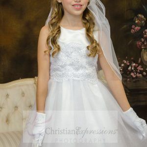 satin and tulle white first communion dresses size 6