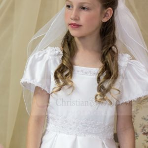 satin first communion dress with lace pearls