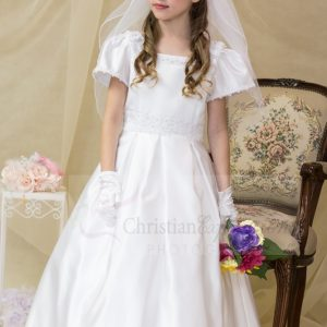 satin first communion dress with lace pearls pleated skirt