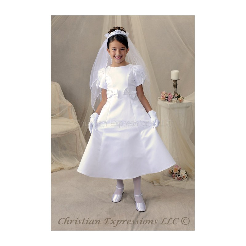 satin first communion dress with bows