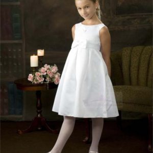 satin pleated tea lengh first communion dress with bow