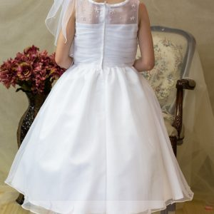 sheer neckline organza first communion dresses Pearl Clusters