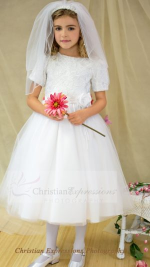 short sleeve tulle first communion dress