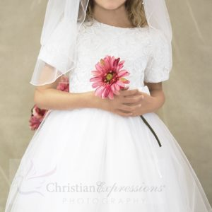 tulle first communion dresses with sleeves