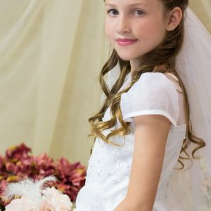 white first communion dresses with shamrocks
