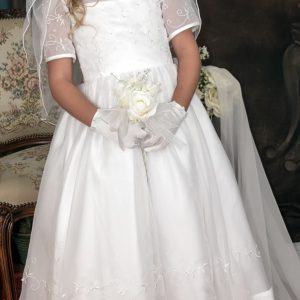 white short sleeves communion dresses with satin bow for girls