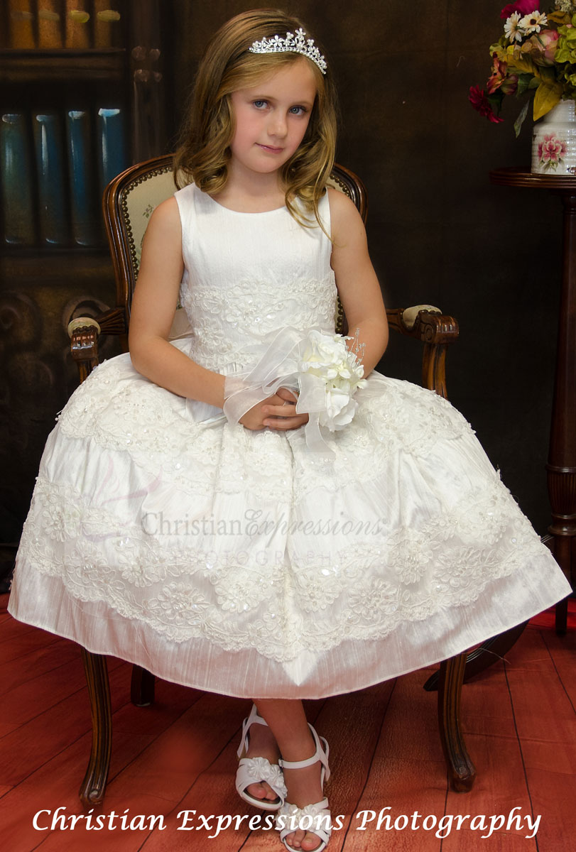 Silk First Communion Dress with Beading Size 10