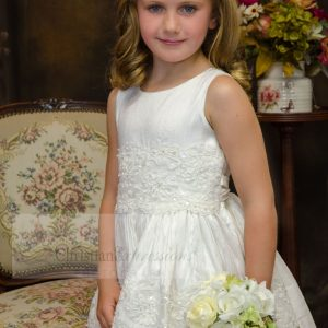 Silk First Communion Dress with Beading Size 12