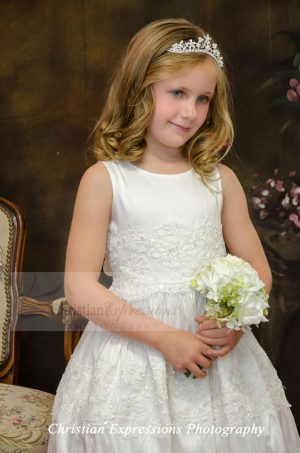 Silk First Communion Dress with Beading Size 6