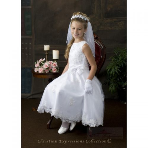 beaded first holy communion dress for girls