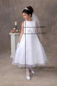first communion dresses size chart
