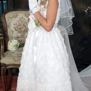 1st Communion Dress with Embroidered Tulle