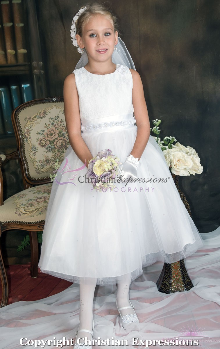 1st Communion Dress with Lace Bodice and Satin Rosettes
