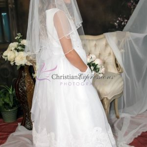 1st Holy Communion Dress Organza with Lace Trim