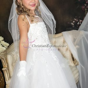 1st Communion Dress with Tulle and Sequined Appliques Sleeveless Sheer Neckline