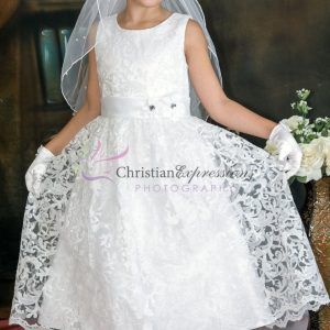 1st communion dresses lace overlay with sequins
