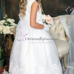 First Communion Dress Organza with Lace Trim