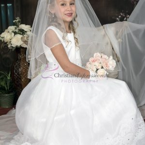 First Communion Dress Organza with Lace Trim Size 12