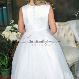First Communion Dress Organza with Lace Trim Size 6