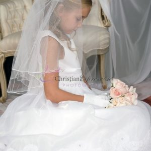 First Communion Dress Organza with Lace Trim size 10