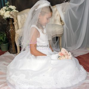 First Communion Dress Organza with Lace Trim size 8