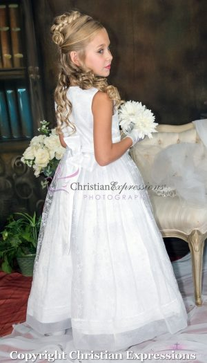 First Communion Dress with Embroidered Lace Overlay and Sash