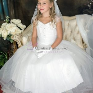 First Communion Dress with Gathered Sequined Bodice