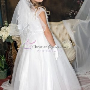 First Communion Dress with Gathered Sequined Bodice size 10
