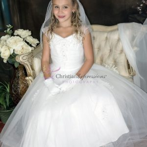 First Communion Dress with Gathered Sequined Bodice size 6