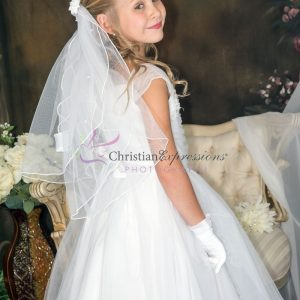 First Communion Dress with Gathered Sequined Bodice size 8