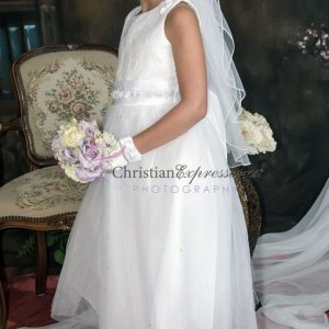 First Communion Dress with Lace Bodice and Satin Rosettes Tea Length