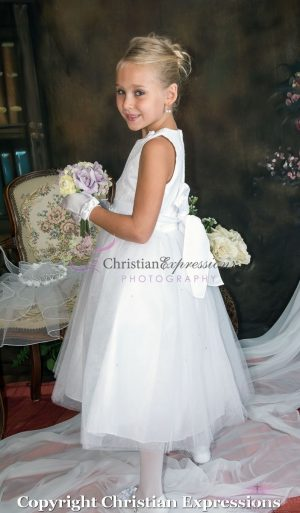 First Communion Dress with Lace Bodice and Satin Rosettes