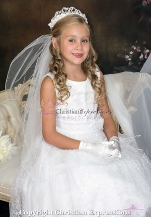 First Communion Dress with Lace Overlay and Sash