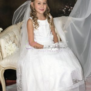 First Communion Dress with Lace Overlay and Sash Organza Hemline
