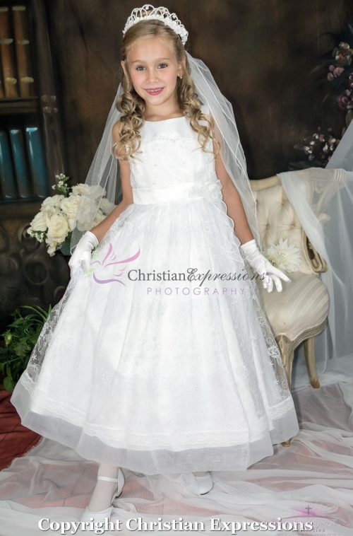 First Communion Dress with Lace Overlay and Sash ankle length