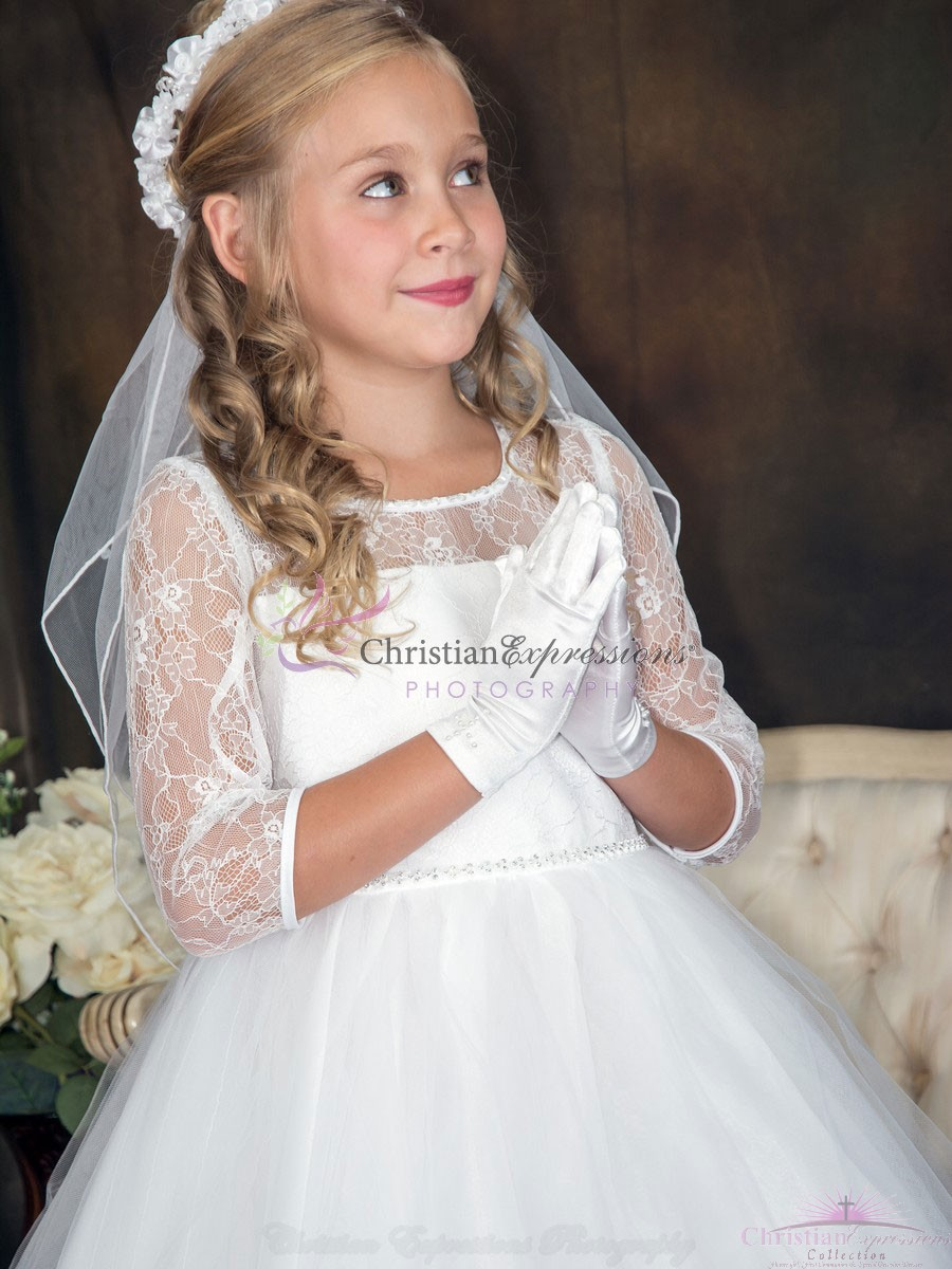 Lace First Communion Dresses with Sleeves