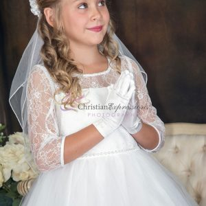 First Communion Dress with Lace Three Quarter Sleeves