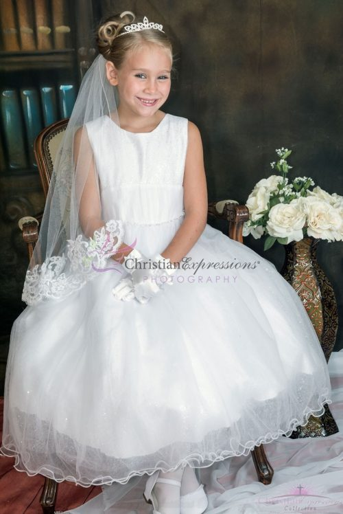 First Communion Dress with Sequin and Mesh Bodice Glitter Skirt Size 6
