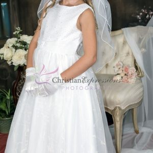 First Communion Dress with Sequined Bodice