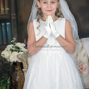 First Communion Dress with Sequined Bodice Size 7