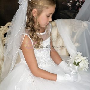 First Communion Dress with Tulle and Sequined Appliques
