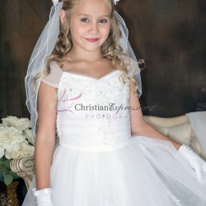First Communion Dresses with Gathered Sequined Bodice for Girls