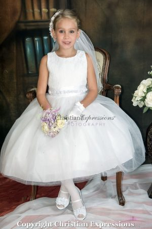 First Communion Dresses with Lace Bodice and Satin Rosettes
