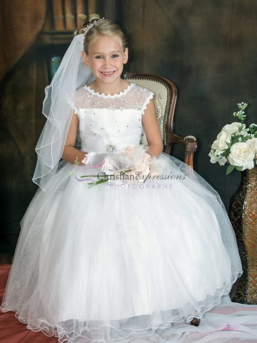 Girls First Communion Dress Ruffled Hem Lace Bodice