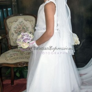 Girls First Communion Dress with Lace Bodice and Satin Rosettes