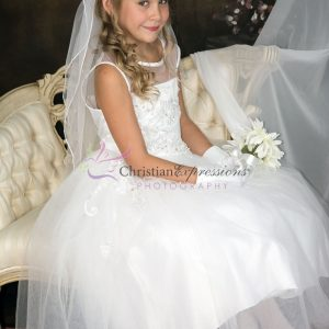 Girls First Communion Dress with Tulle and Sequined Appliques